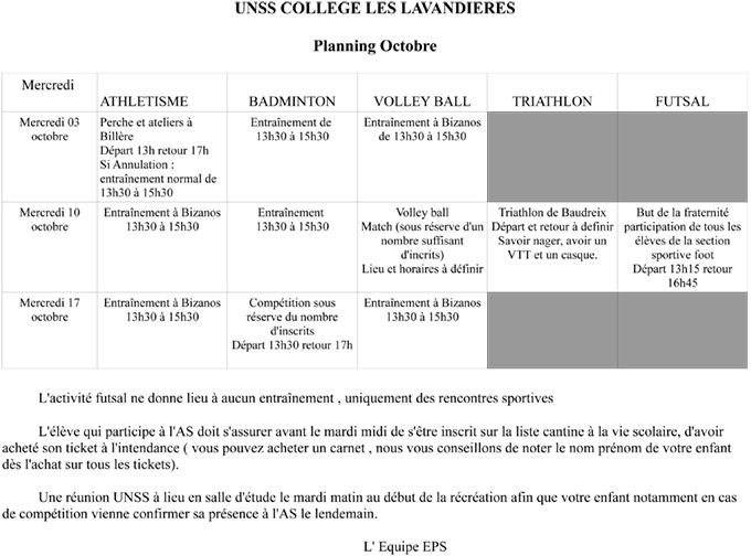 Planning unss octobre